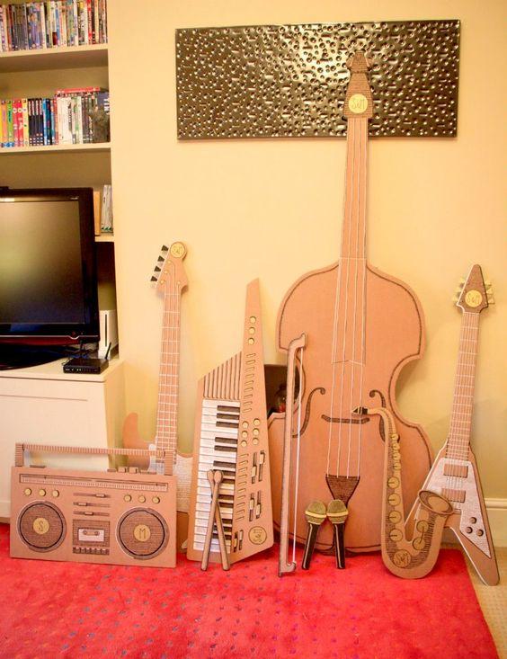 manualidades instrumentos musicales de carton faciles