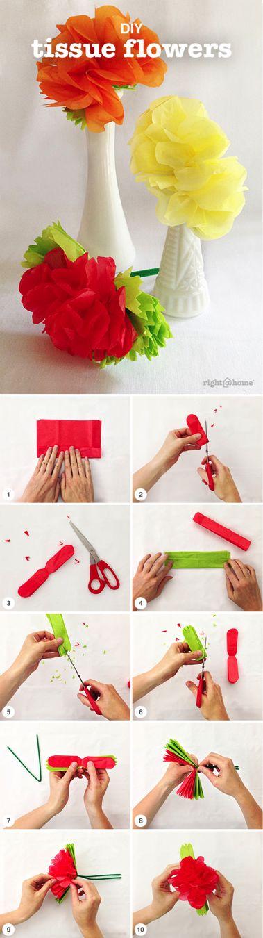 Flores explicadas paso a paso con papel de seda
