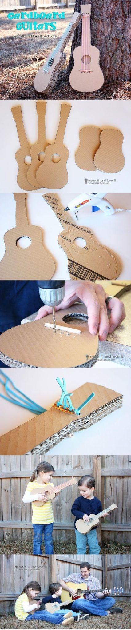 manualidades instrumentos musicales de carton de guitarras