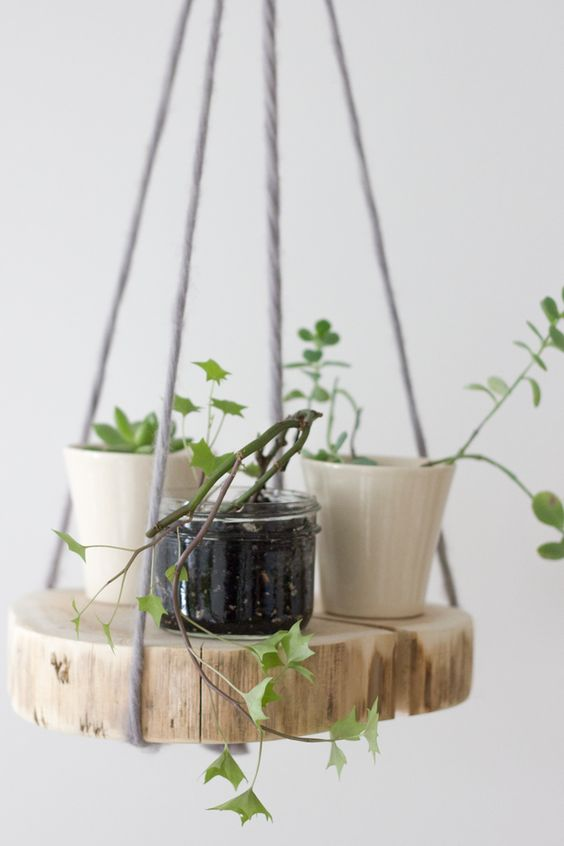 DIY wood shelf plant hanger: