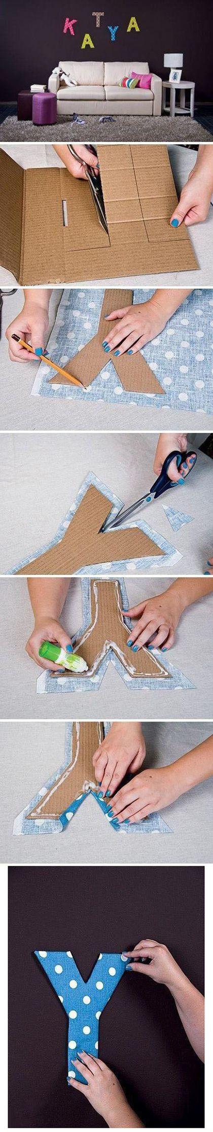 Letras de cartón recicladas para decorar cuartos paso a paso
