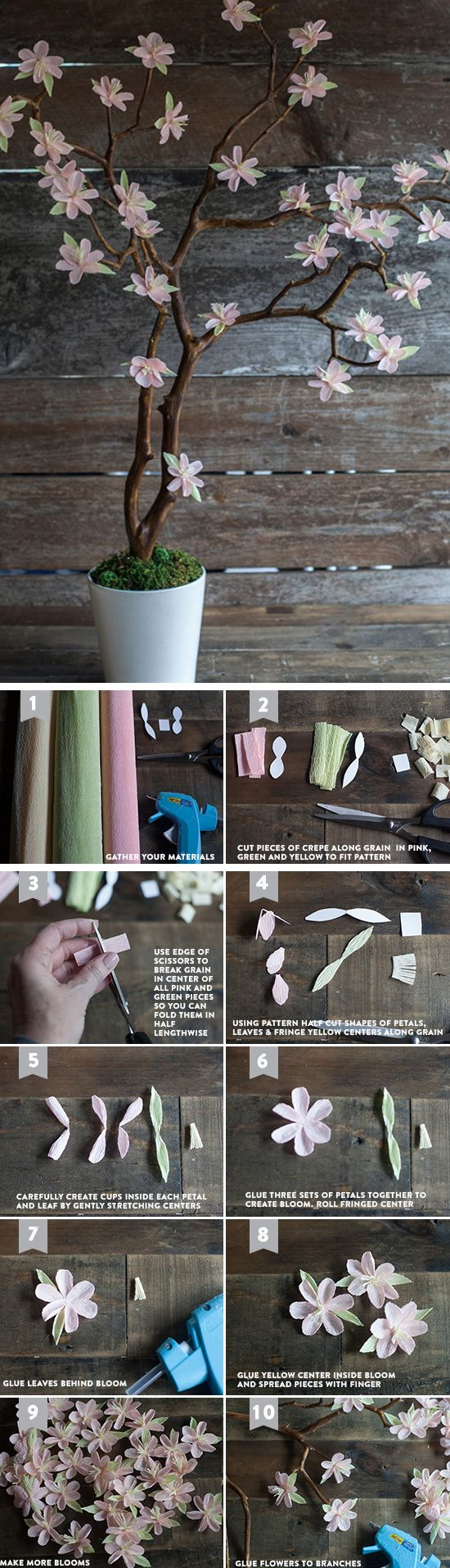 Crepe Paper Cherry Blossom Branches | Click Pic for 24 DIY Spring Wedding Ideas on a Budget | DIY Spring Wedding Decorations on a Budget: