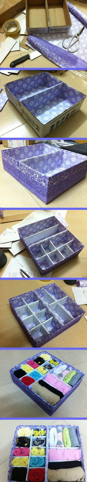cajas de cartón forradas con papel o tela para ordenar cajones paso a paso
