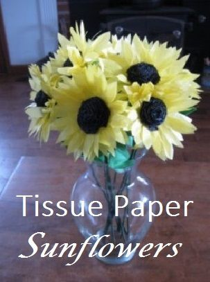 Girasoles de papel de seda