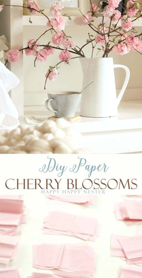 Make these easy DIY paper cherry blossom flowers. They look so real and you'll love these flowers for years to come. This craft is so inexpensive to make and is easy as well.: