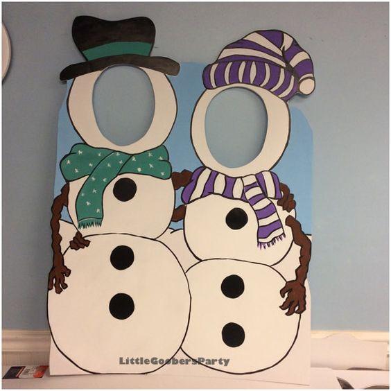 Muñeco de nieve y pingüino de madera cara de por LittleGoobersParty: