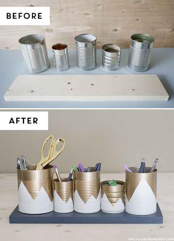 DIY-tin-can-organizador antes e depois upcycledtreasures-: