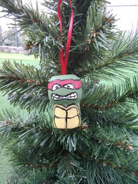 Ninja turtle ornament. Painted on a champagne cork