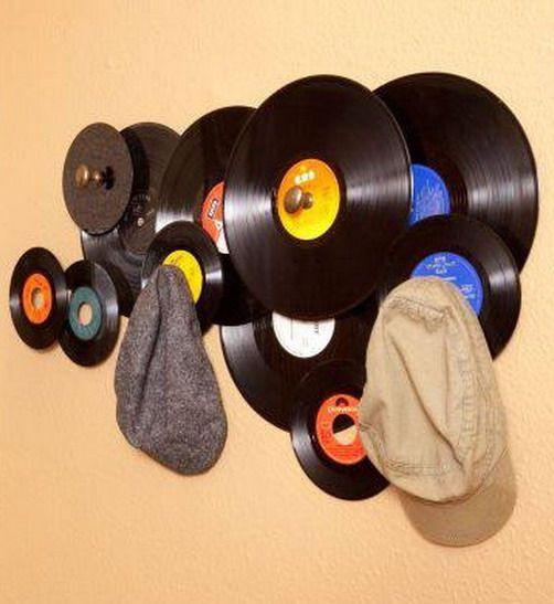 decoracion vintage con discos