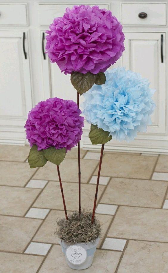 Conjunto de flores gigantes con papel barrilete