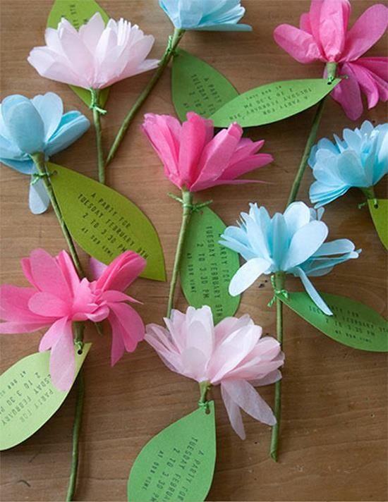 Flores de papel de seda para hacer invitaciones de boda