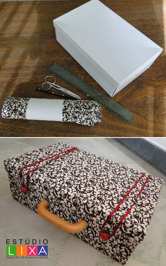 Maleta DIY usando una caja de zapatos de cartón