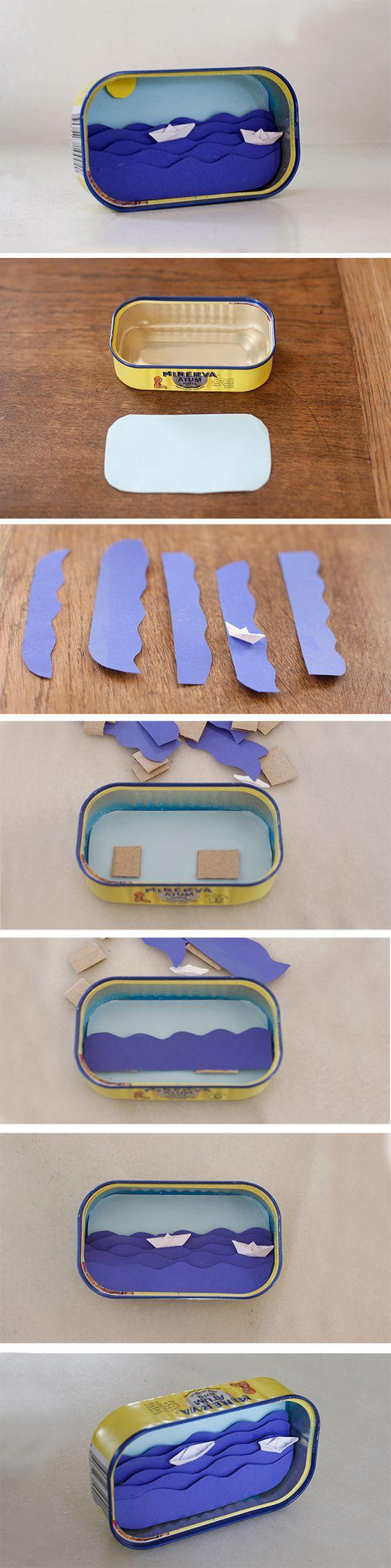 decoracion con latas de sardinas recicladas