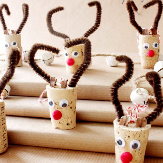 An easy spin on the wine cork reindeer ornament. These little fellows are sure to light your Christmas tree this holiday season.