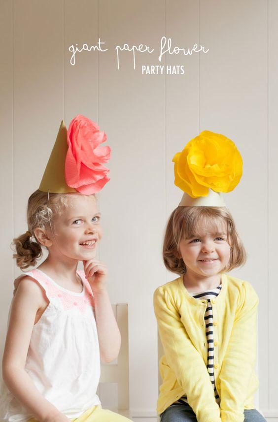 Creative Giant Paper Flower Party Hats DIY for kids Sombreros de cucurucho para niños para fiestas infantiles para hacer uno mismo divertido facil flores de papel: