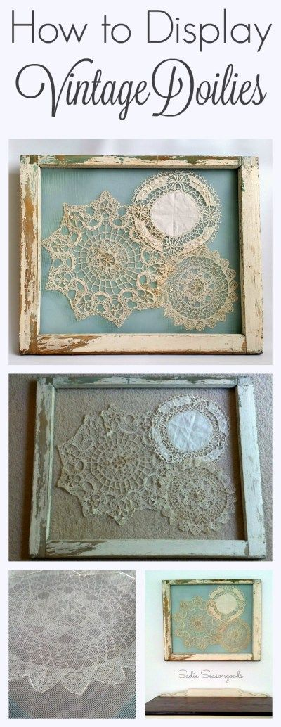 Displaying vintage antique crochet doilies in a salvaged window frame by Sadie Seasongoods / www.sadieseasongoods.com: