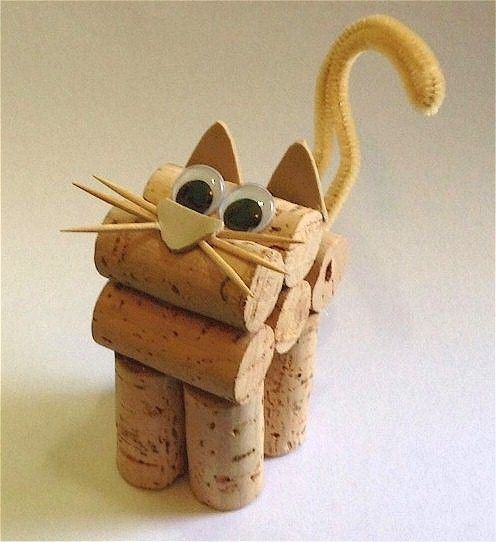 Turn those some of those corks that you saved into this Cute Cork Kitten with help from the kids. Corks make a great craft material so don't throw them out.