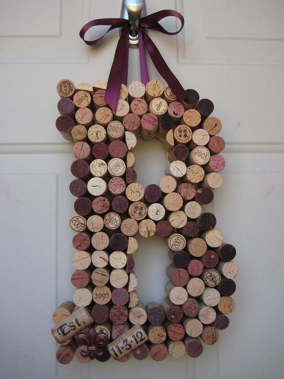 Whimsical Wine Cork Monogram Custom Letter There by kindersquare