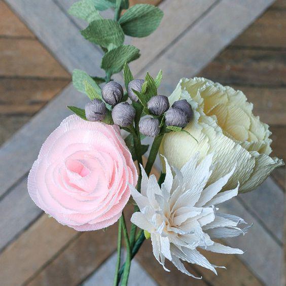 Bouquet de Katie: Quinteto de flores de por AmaranthusPaperFlora: