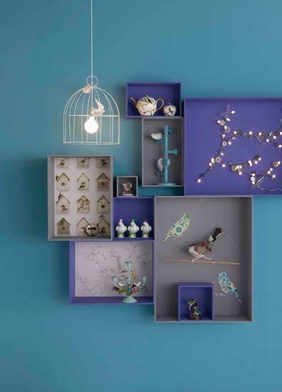 decorar paredes con cajas de cartón de zapatos