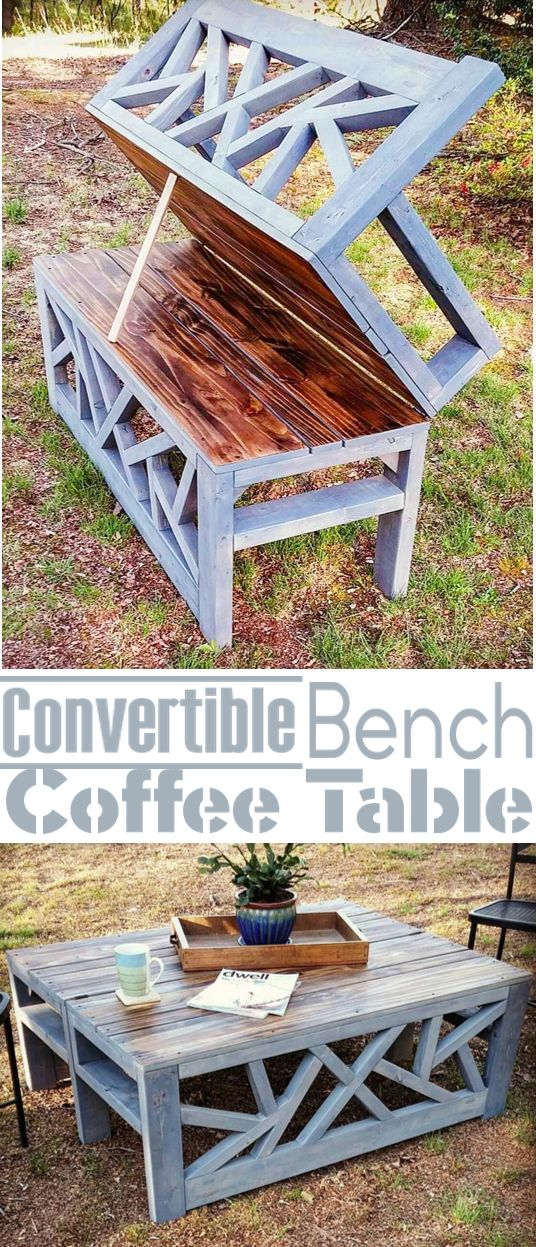 How To- Build an Outdoor Bench that Converts into a Coffee Table: