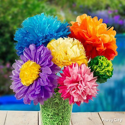 Flores de papel cometa para niños
