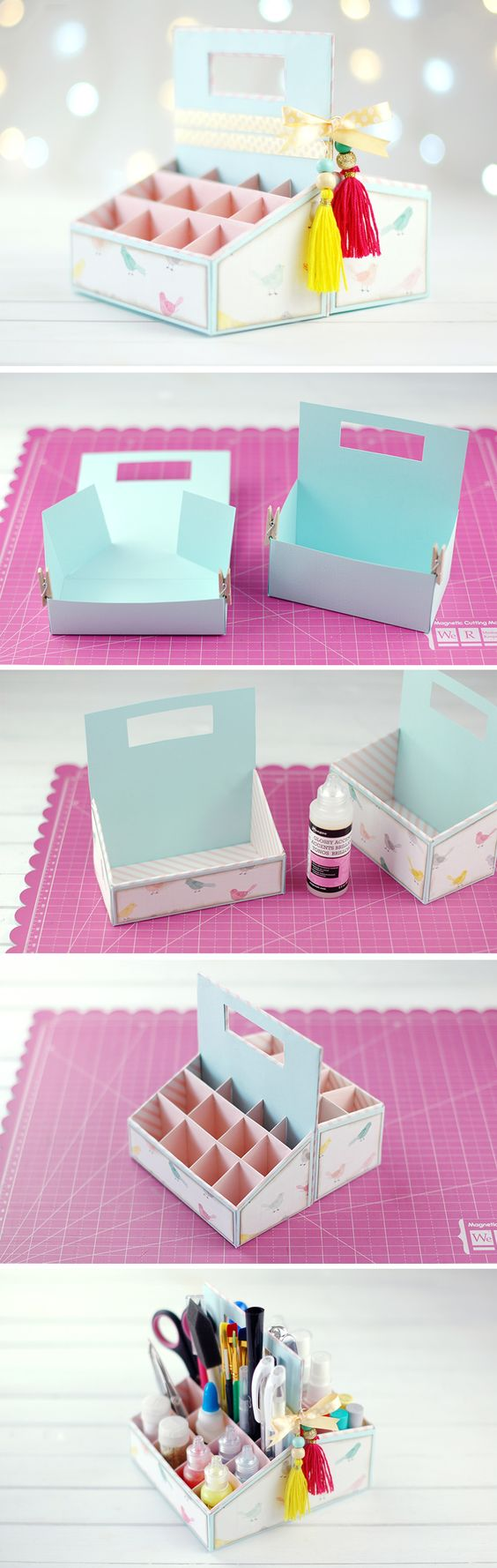 manualidades de cajas de carton organizadoras de scrapbook
