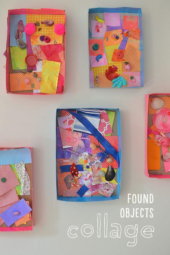Los niños recogen las pequeñas cosas de sus casas para hacer un collage