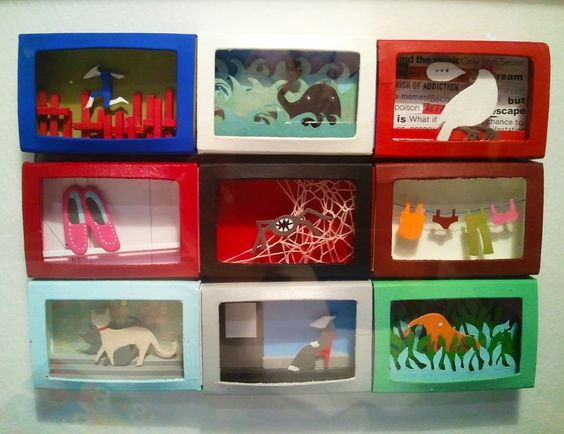 manualidades con cajas de cartón dioramas