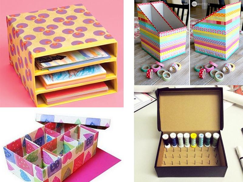 manualidades con cajas de cartón para ordenar