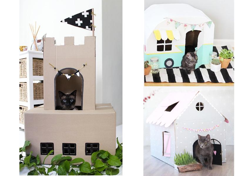 manualidades con cajas carton para gatos