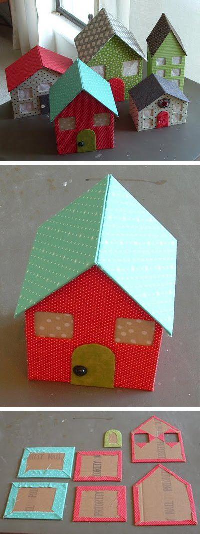 manualidades de carton para navidad casitas
