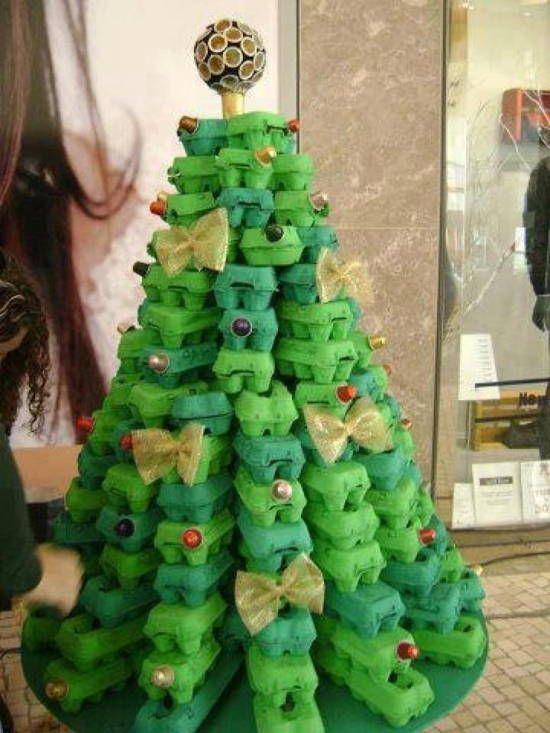 manualidades de navidad con carton arbol