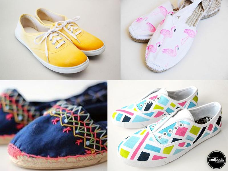 manualidades de verano para adultos zapatillas teñidas