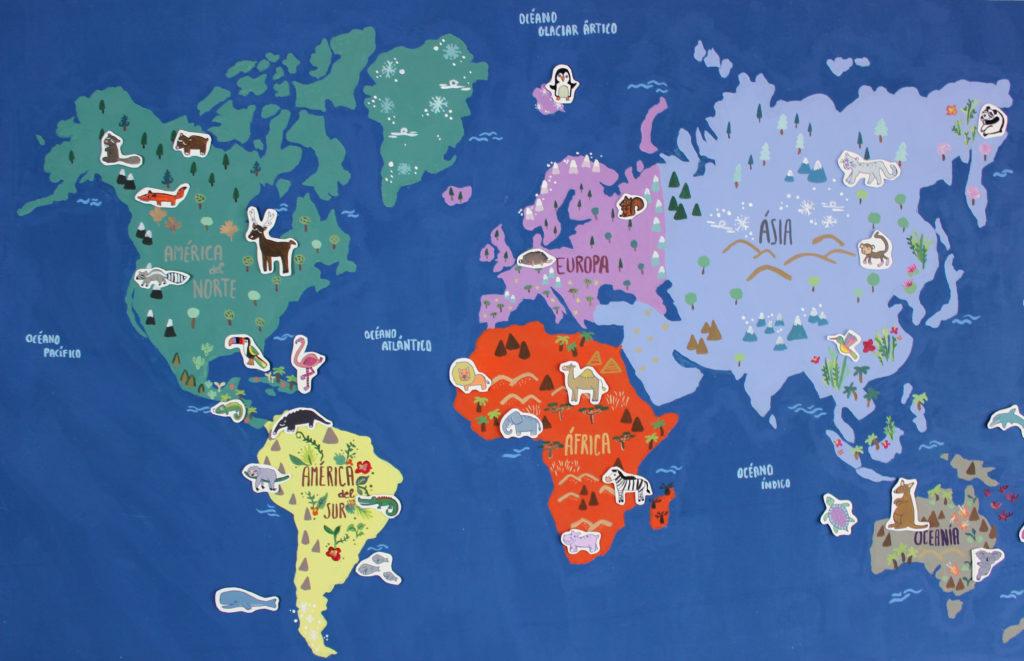 mapamundi ilustrado infantil