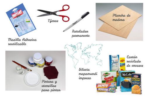 materiales del mapamundi para niños
