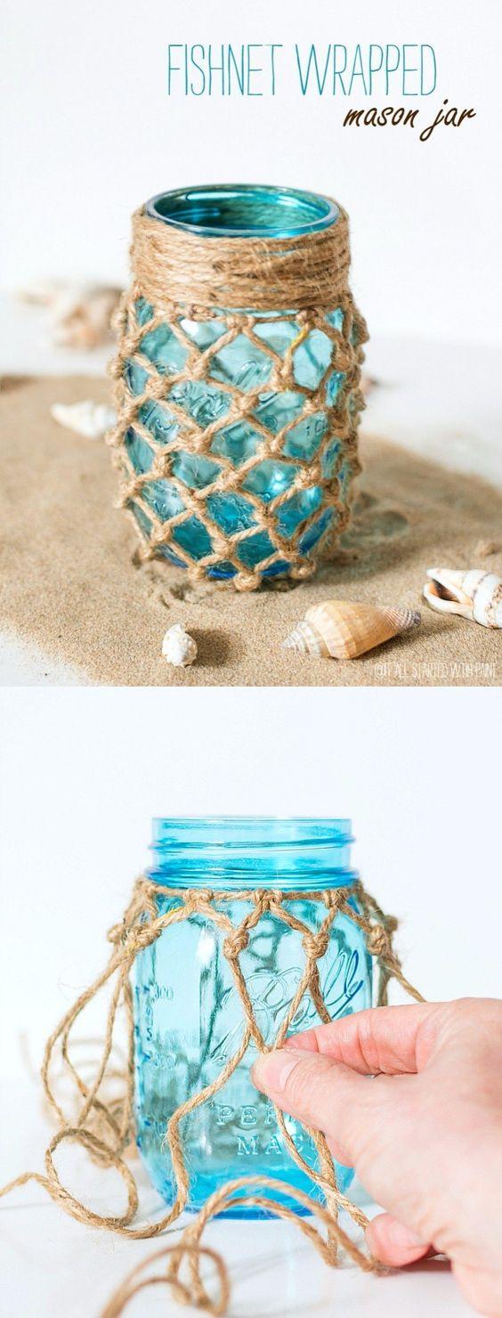 DIY Wrapped Mason Jar - itallstartedwithpaint.com - Tarros decorados con cuerda: