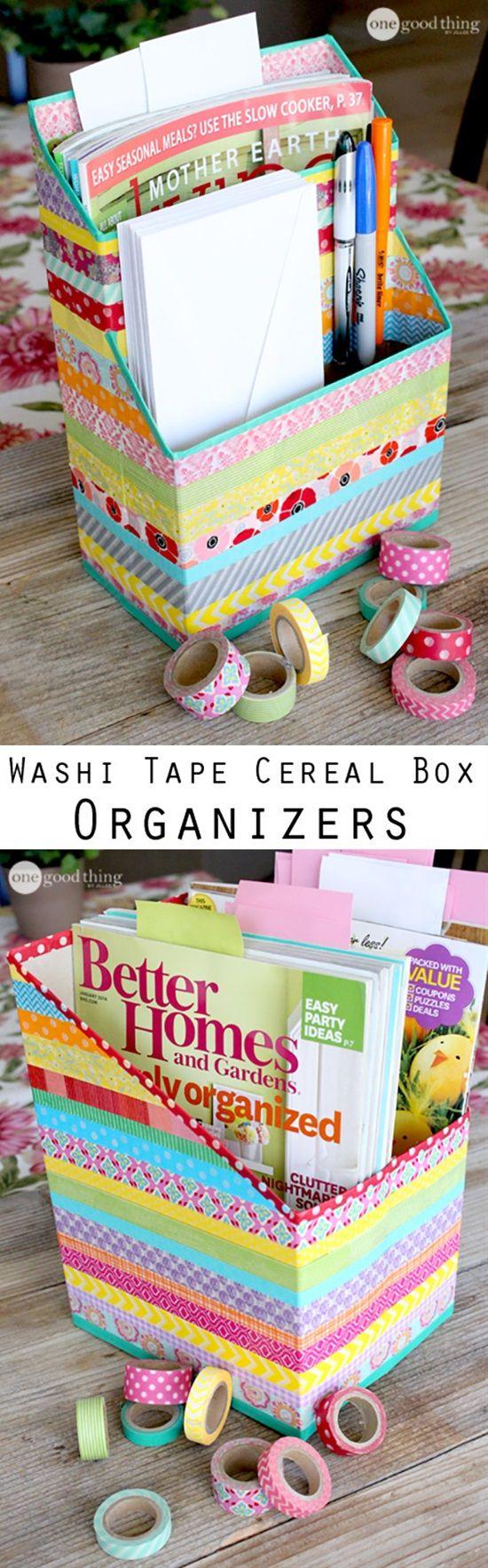 Haz un arcoíris de washis con esta caja revistero de cintas masking tape