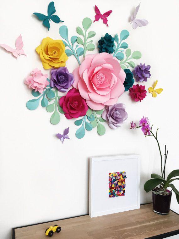 Flores decoracion pared zooarts extrable de flores hada - Papel adhesivo para decorar ...