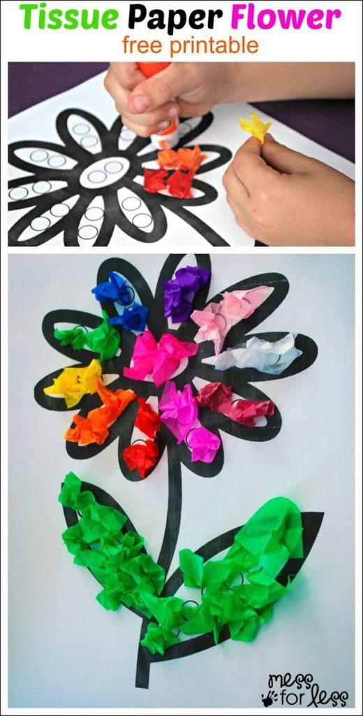 flores de papel para niños pequeños