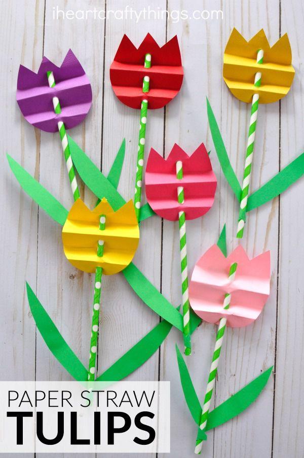 flores de papel para niños de preescolar