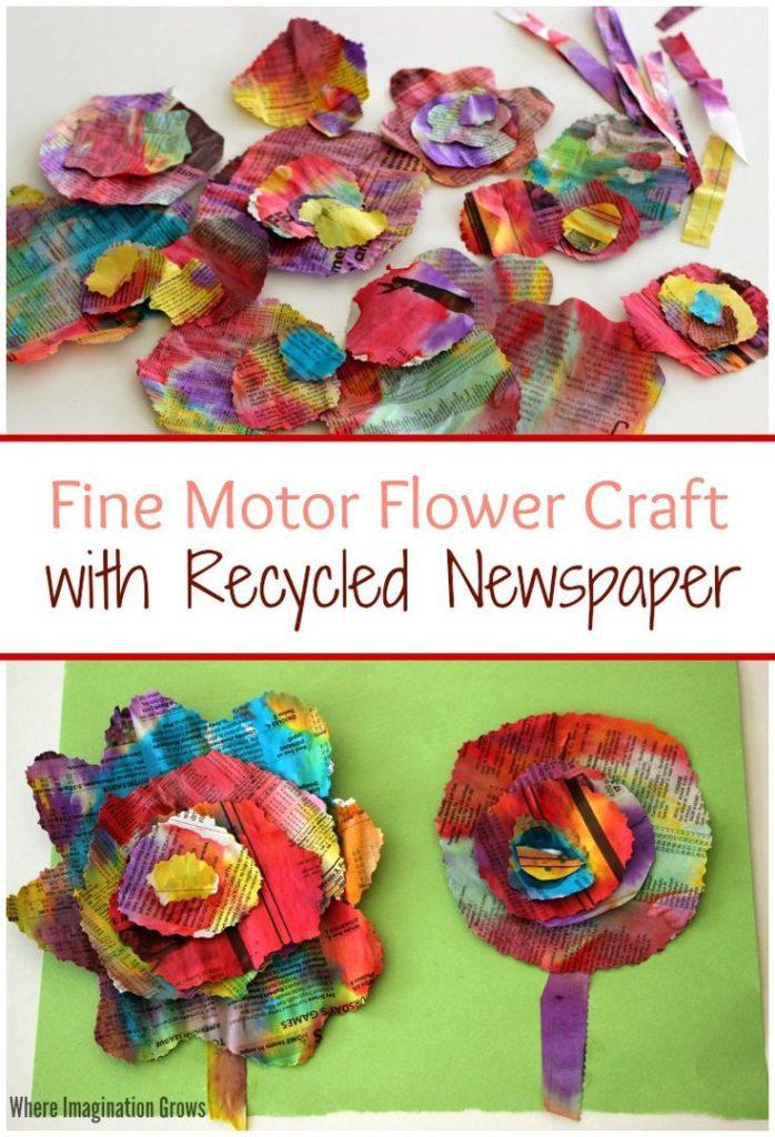 flores de papel faciles para niños