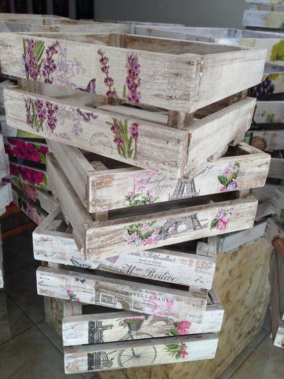 Huacales de madera decorados vintage por lasillazul en Etsy: