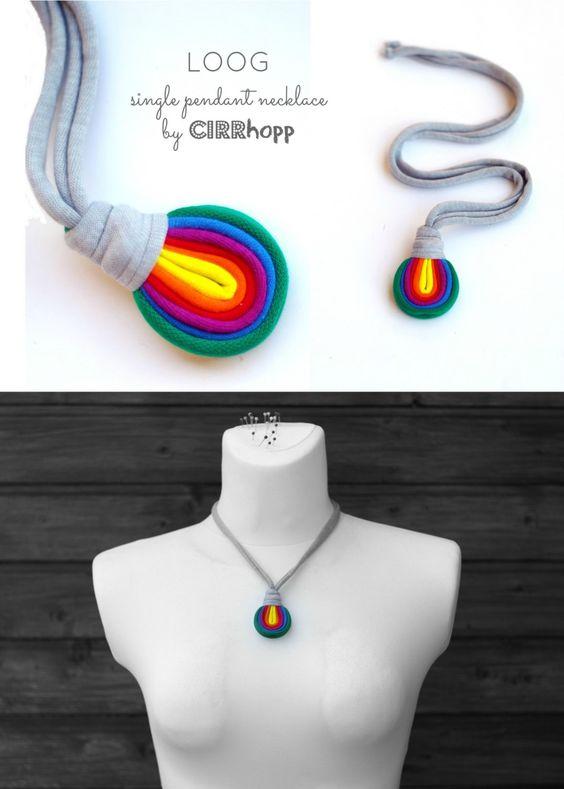 Rayas de collar/arco iris/Marina/reciclado/hecho a por cirrhopp: