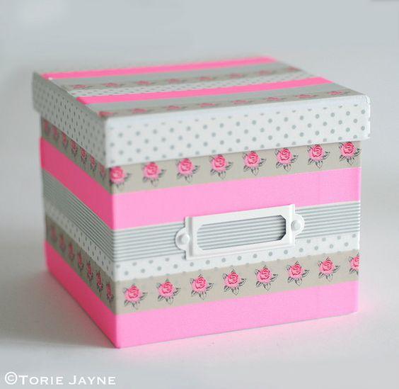 14 ideas para decorar cajas con washi tape TOP 2018 Uma