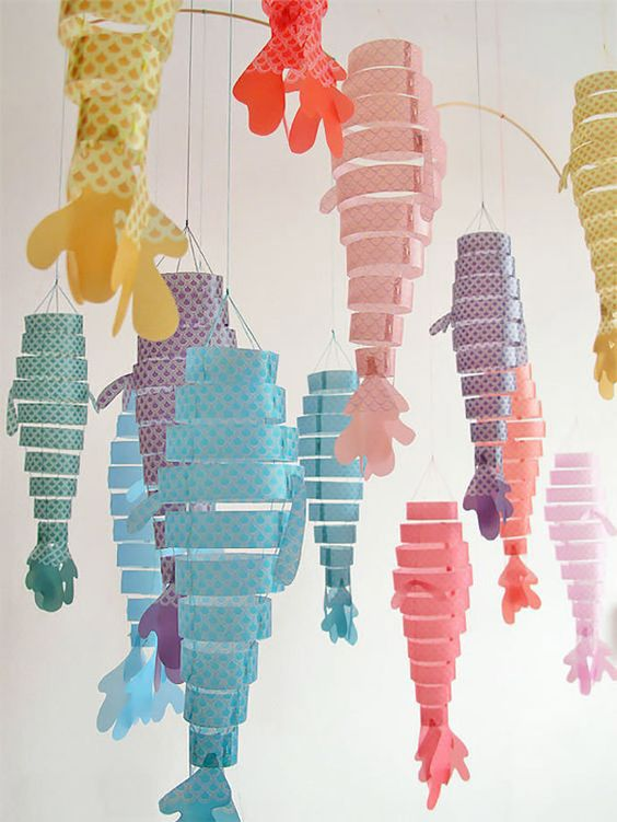 Moviles de papel: peces de colores: