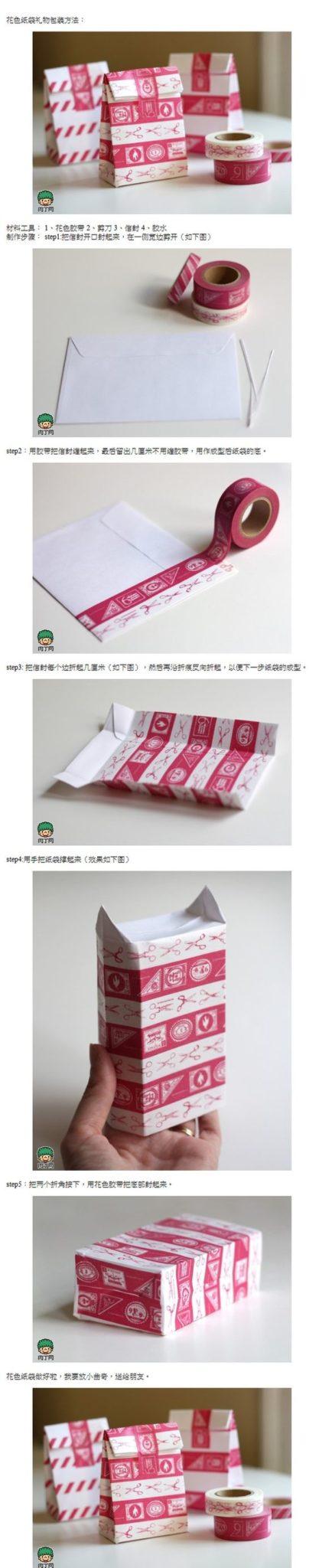 Divertidas cajas de cintas washi con sobres reciclados