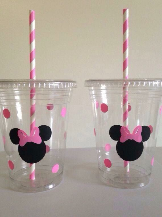 decorar vasos para fiestas de la minnie