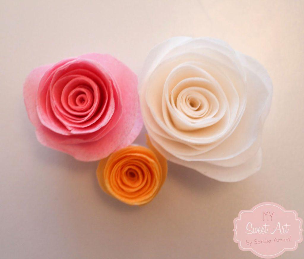 flor de colores de papel de arroz