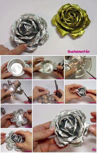 flores con papel metalico
